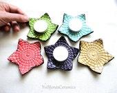 Set of 5 Decorative Handmade Small Star Ceramic Votive Candle Ring Trinket Dishes Tea Bag Holders