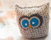 Grey and Tan Crochet Owl - Plush, Decorative Pillow, Amigurumi