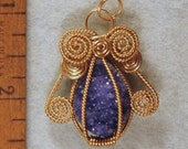 Druzy Angel Wire Wrapped Pendant