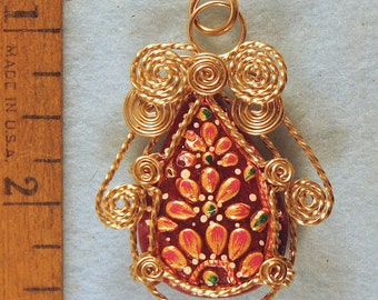 Hand Carved Meena Art Ruby Angel Gold Filled Wire Wrapped Pendant Number 4 of 500