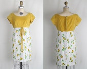 Vintage 1960s 1950s empire waist mini dress / brown and mustard rose dress with green details mustard yellow velvet top / Small Medium