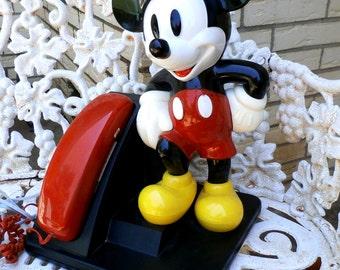Vintage Mickey Mouse Telephone Disneyana Works! 1980s