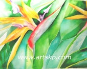 BIRD  Original Watercolor on Arches paper, tropical foliage by Karen Pratt 10X16 inches