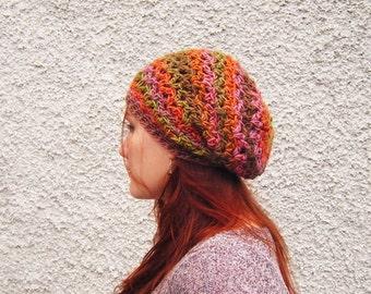 Multicoloured Crochet Slouchy Beanie