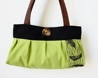 Pleated purse-Feathers silk screen print~ 2 straps light wasabi green, brown, black purse small tote~Ready to ship