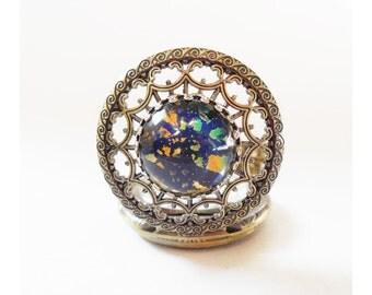 Pocket watch Necklace Dark Blue Glass Opal  Pocket watch Locket style necklace-- Christmas gift for her-watch  necklace
