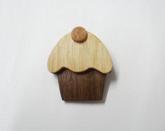 cup cake  brooch wood ash scroll saw