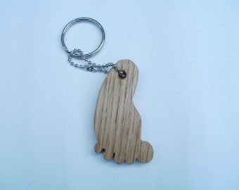 foot keychain  oak scroll saw