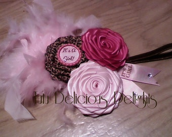 Oh Baby It's A Girl Light Pink Hot Pink Leopard Rose Headband