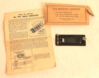 Lionel Train - No. 145c Track Contactor - Includes Envelope and Instruction Sheet - Vintage 1940s