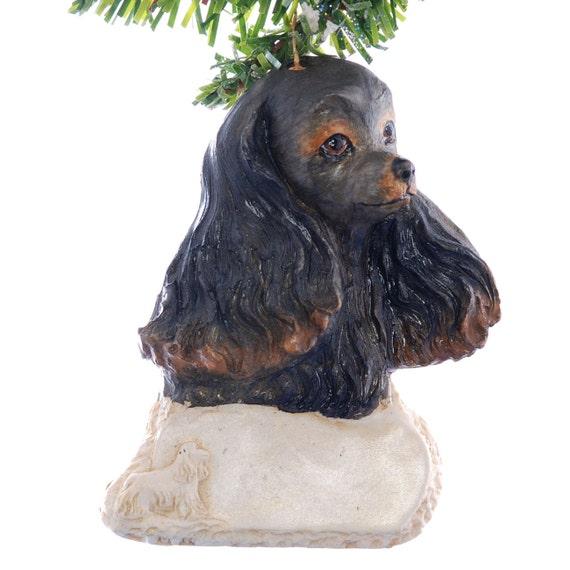 Cocker Spaniel Personalized Christmas Ornament black and tan