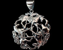 Solid .925 Sterling Silver 3 Horses Viking Equestrian Art Medallion Pendant - Free Shipping worldwide