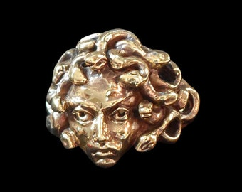 Solid Bronze Medusa Ring - Free Re-Size/Shipping a best seller daughter of Gorgon Phorcys and Ceto Greek Mythology