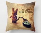 Alice in Wonderland Inspired Pillow Cover, Motivational Quote, Rabbit, Clock, Nursery Decor, Home Decor, Graduation Gift, Pocket Watch