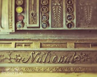 Vintage Cash Register Photography, Antique Fine Art Print, Bar Decor, Industrial Home Decor, Store Gift, Rustic, Vintage Typewriter Keys