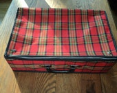 GOING MY WAY?  Well you can with this Red Plaid suitcase which has  Never Been Used and in Mint Condition, Made in Taiwan, Republic of China
