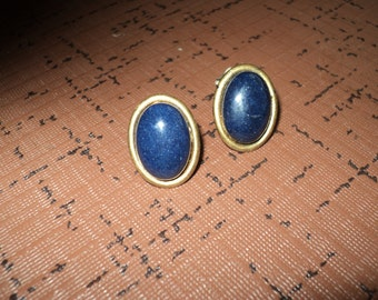 Vintage Genuine Blue Lapis Gemstone Earrings, Clip On Style  Natural and Organic Larger Sized Gemstones with great shape and color