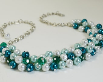 White, Aqua and Teal Cluster Necklace, Bridal Necklace, Wedding Jewelry, Chunky Pearl Necklace, Bridesmaid Gift, Bridal Piece, Pearl Jewelry