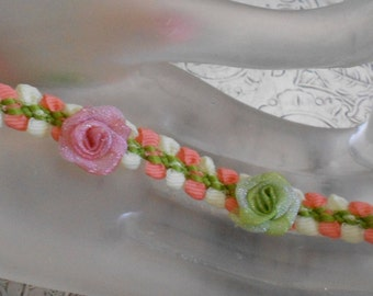 Pink and Green Ribbon Rosette Trim
