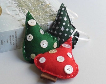 Red and Green handmade christmas tree decorations with button detail