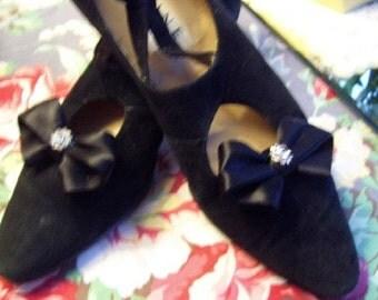 Vintage Black Satin Rhinestone Shoe Clip Buckle
