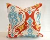 Designer Pillow Cover, Decorative, Throw. 16x16 inch, Natural, tomato, blue, gold