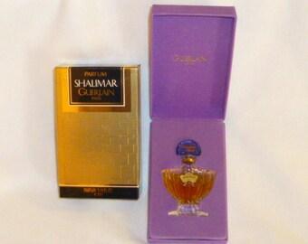 Shalimar Guerlain Parfum Paris 7.5 ml in Velvet Box and Original Box Crystal Bottle Marked Bottom