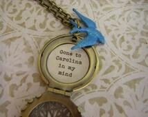 Blue Bird Locket, Necklace, Gone To Carolina In My Mind, Carolina Girl Blue Jay, Brass Locket