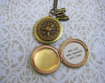 Brass Compass Locket.  Not all who wander are lost.  Tolkien, traveler, adventure, graduate
