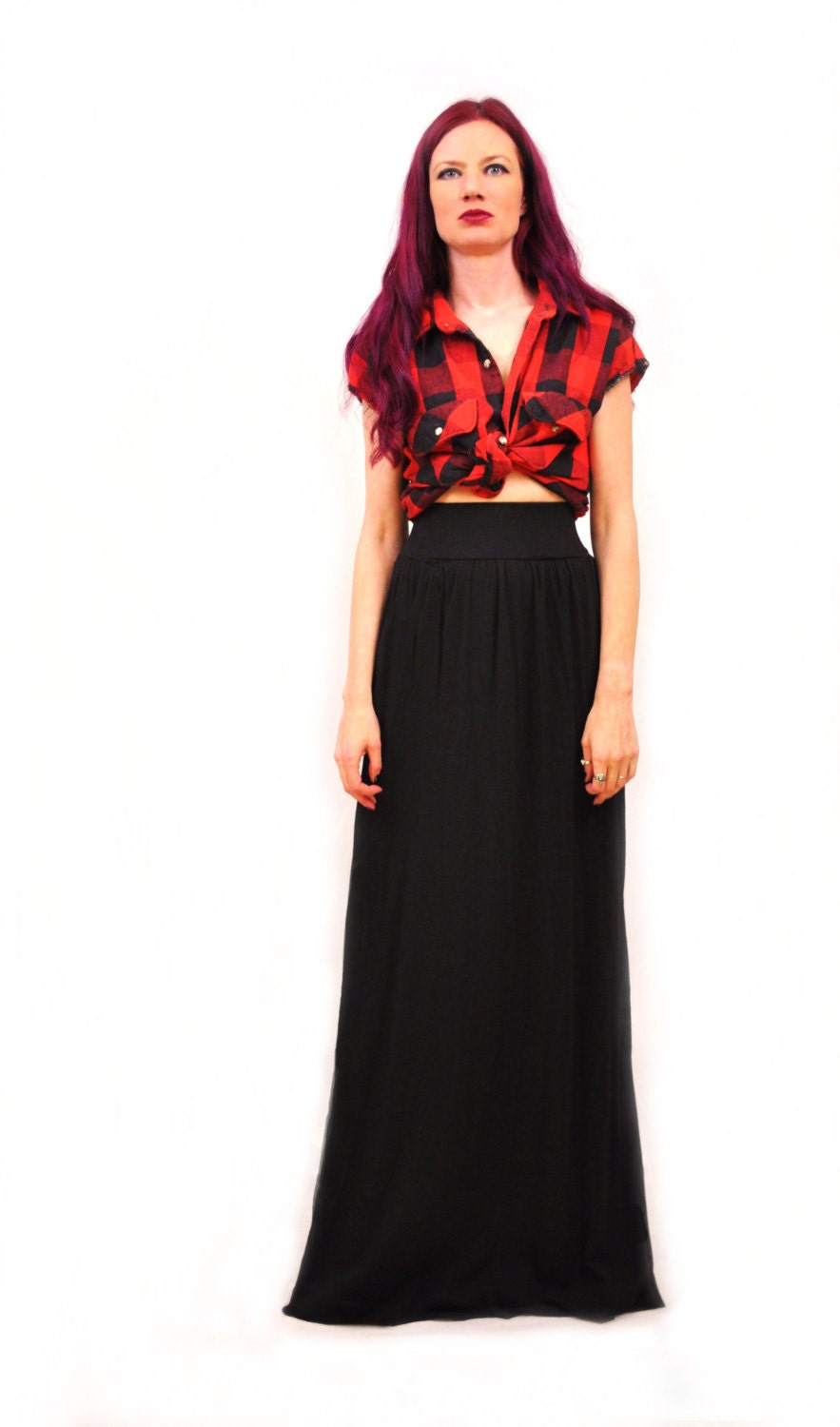 flowy high waist maxi skirt dyed in stretch knit cotton