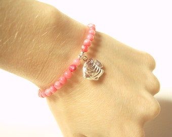 Silver Fish Charm Bracelet, Pink Coral Beaded Bracelet, Coral Bead Jewelry UK