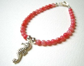 Seahorse Bracelet, Red Coral Bracelet, Friendship Bracelet,  Coral Jewelry UK