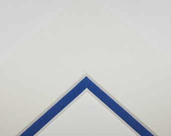 5x7 Double Mat - Soft White and  Phantom Blue for 8x10 Frame