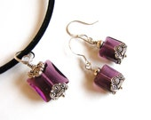 Necklace and Earrings Set, Amethyst Swarovski crystals, February Birthstone
