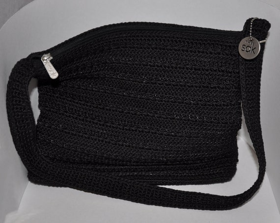 The Sak Black Shoulder Strap Crochet Purse by lynnsplaces on Etsy