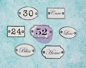 "SALE Prima Shabby Chic Treasures  ""Metal Door Signs"" 2014  - Vintage Inspired Metal Embellishments - 7pcs - 892319"