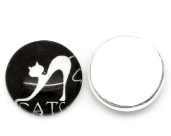 30 Cabochons 12mm  - WHOLESALE - Round - Black with White Cat Pattern - Glass - Ships IMMEDIATELY from California - C140a