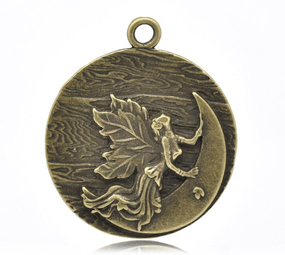 Angel Moon Charm - Antique Bronze - LARGE - 44x48mm - Ships IMMEDIATELY from California - BC195