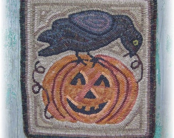 The Country Cupboard Primitive Folk Art Hooked Rug Hooking PAPER Pattern Crow on a Jack-O-Lantern Halloween Decor