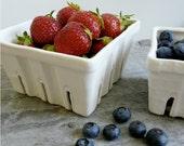 Porcelain Berry Basket, Ceramic Fruit Colander Size Large