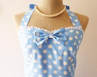 Short Party Dress Lolita Dress Blue Polka Dot Dress Cute Vintage Dress Alice in Wonderland Tea Dress Cotton Dress Casual Dress -XS-XL,Custom