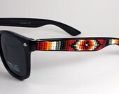 Beaded Sunglasses Red and Grey Wayfarers