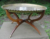Excellent 34 Inch Moroccan Brass Tray Table Mid Century Modern