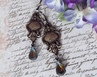 Antiqued Brass Dangle Earrings With Vintage Setting Olive Montana Blue Crystal Dangle