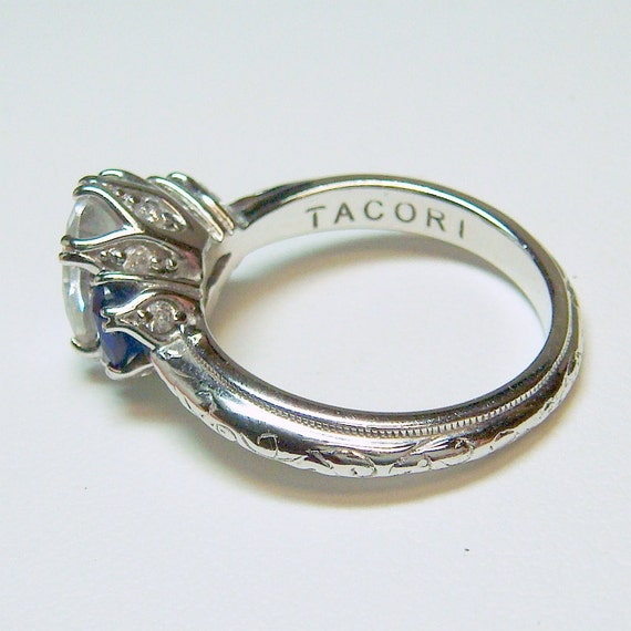 tacori deco sterling silver 925 engagement ring