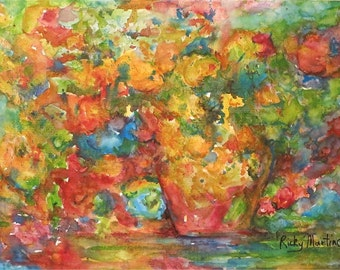 Abstract  Flower Bouquet Contemporary Decor, Gift, Present, Original bright  Watercolor Painting by ebsq Artist  Ricky Martin. FREE SHIPPING
