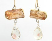 Raw Imperial Topaz Crystal Earrings with Oregon Sunstone Briolettes
