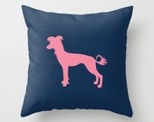 Chinese Crested Silhouette Throw Pillow (Cover ONLY) : Solid Custom Colors