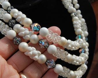 Vintage mid-century HANDMADE bead NECKLACE 3 strand White