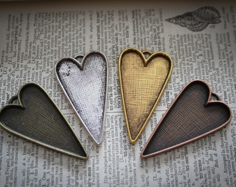 3 Heart Pendant (Folk) Base Tray - Antique Silver,  Bronze or Copper - Bezel to use with Resin or epoxy